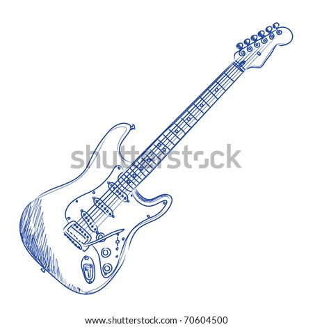 Vector sketch of an electric guitar in blue ink - stock vector