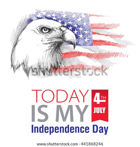 Vector sketch of bald eagle head on the background with American flag isolated. Design for United Stated Independence Day. Background with flag and eagle for July 4. July fourth greeting design.