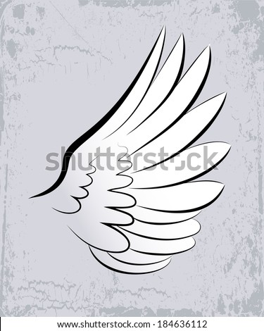 Vector sketch of big white wing.
