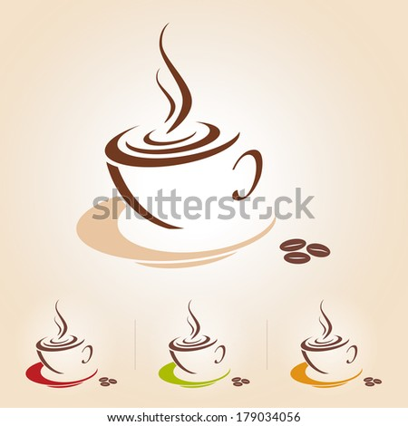 Vector sketch of coffee cup, icon Coffee or Tea cup graphic, isolated from background - stock vector