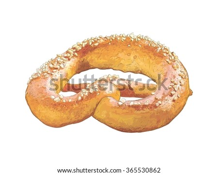 Vector sketch of colorful pretzel with sesame on white sesame