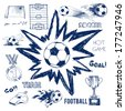 Vector sketch of football elements - stock