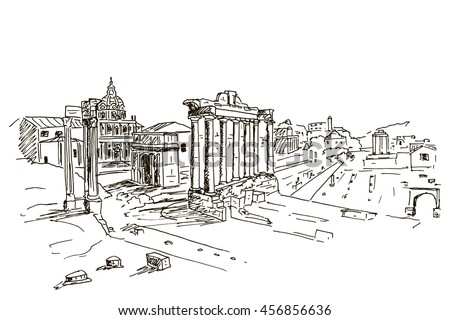 vector sketch of Foro Romano. Rome. Italy.