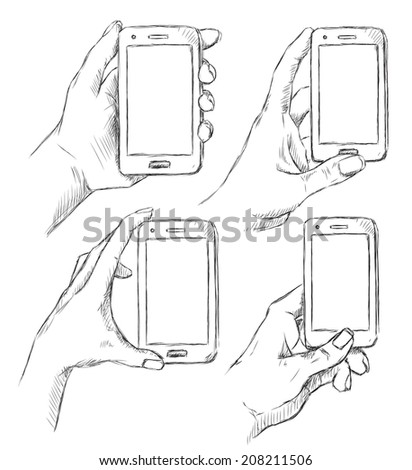 Vector sketch of hands holding mobile phone - stock vector