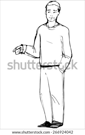 vector sketch of man points his index finger - stock vector
