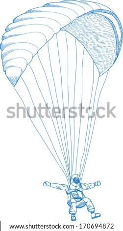 vector sketch of paragliding flying sportsman on a wing - stock vector