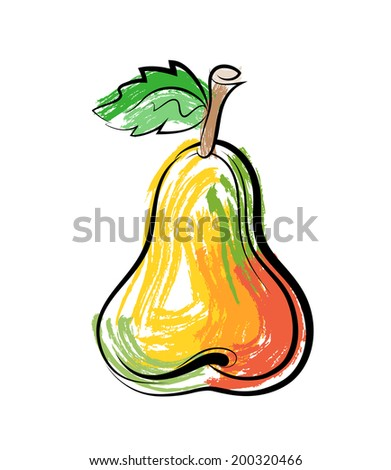 Vector sketch of pear on white background. - stock vector