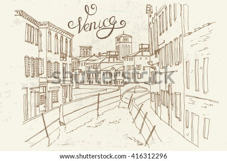 vector sketch of street in Venice, Italy. Retro style.