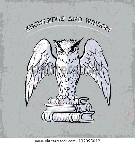Vector sketch of stylized owl, which sits on the books. - stock vector