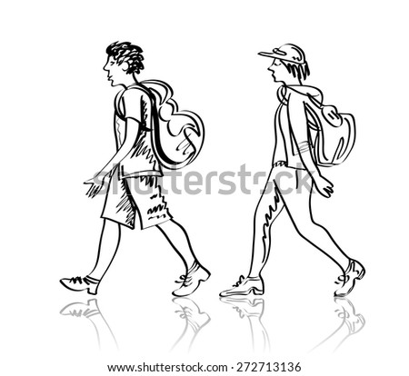 Vector sketch of tourists with a backpack. Linear sketch. Isolated on white. - stock vector