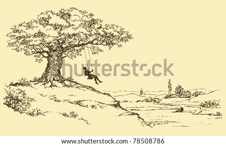 Vector Sketch. Resting man riding on a swing tied to the old oak tree growing on a hill above the river valley - stock vector