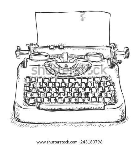 Vector Sketch Retro Typewriter - stock vector