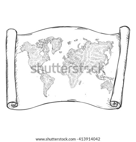 Vector Sketch Scroll with World Map - stock vector