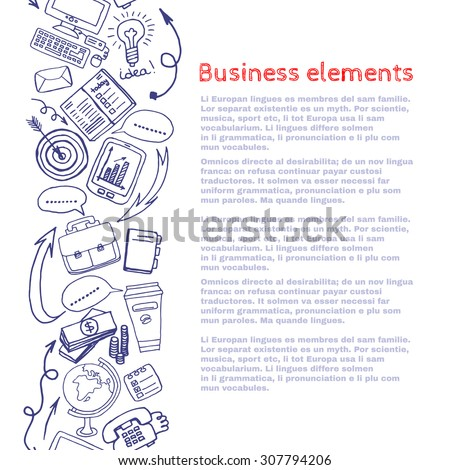 Vector sketch style draw business elements border composition background. Doodle illustration. Template for your design. - stock vector