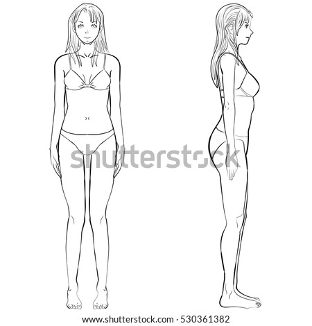 vector sketch template girl illustration woman stock vector