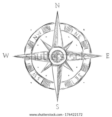 Vector Sketch Wind Rose - stock vector