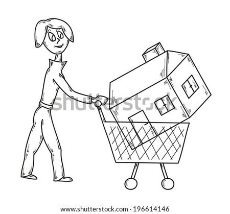 vector, sketch, woman with shopping cart and house