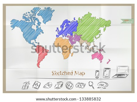 Vector sketched world map and icons on crumpled paper - stock vector