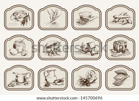 vector sketches natural ingredients used in pharmacology - stock vector