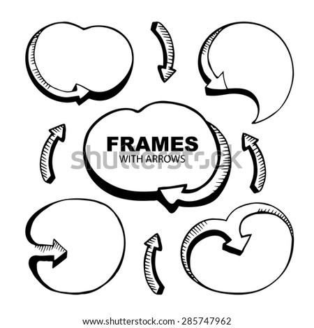 vector sketches of an empty round framework with arrows - stock vector