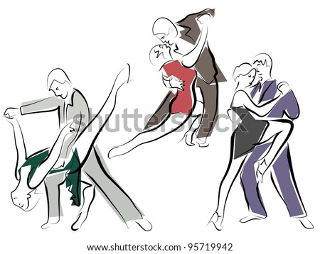 Vector sketches of dancing couples in line style. - stock vector