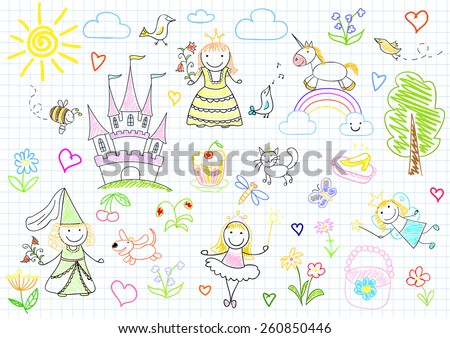 Vector sketches with happy little princesses and fairy. Sketch on notebook page - stock vector