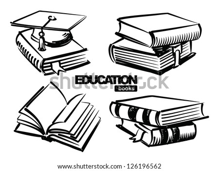 vector sketchy illustration of books on white - stock vector
