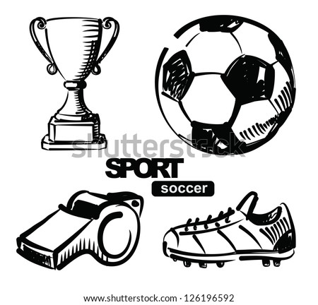 vector sketchy illustration of soccer on white - stock vector