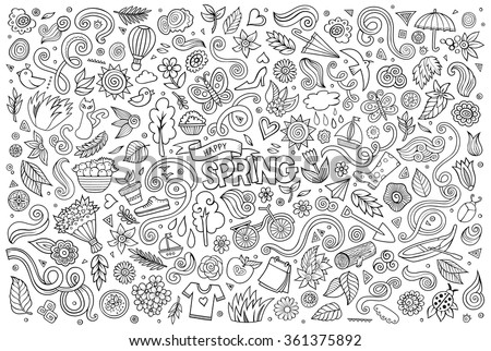 Vector sketchy line art Doodle cartoon set of objects and symbols on the Spring nature theme - stock vector