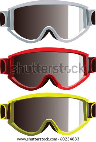Vector ski goggles isolated on white background
