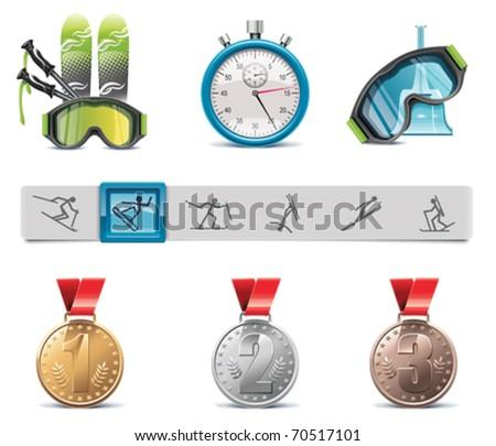 Vector skiing icon set - stock vector