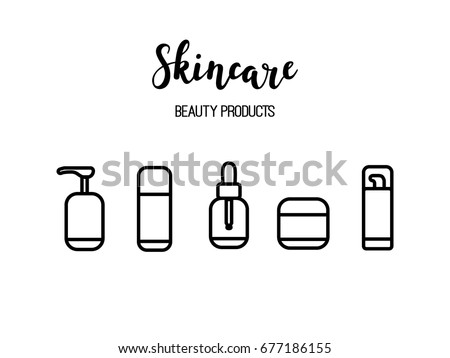 Vector Skincare Products Cosmetics Beauty Routine Line Art Icons With Calligraphy Word