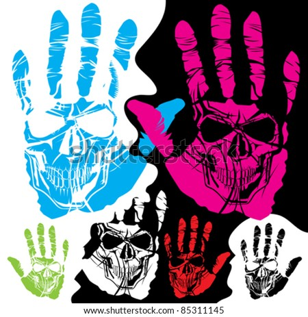 vector skull and hand of different color - stock vector