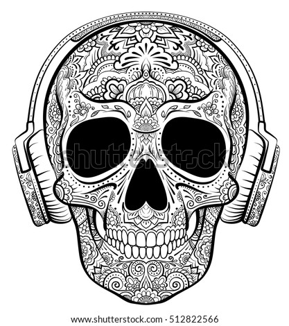 Vector skull graphics with floral ornaments and earphones.