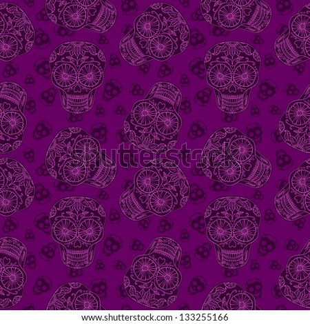 Vector Skull Magenta Seamless pattern. Mexican Background for Day of the Dead - stock vector