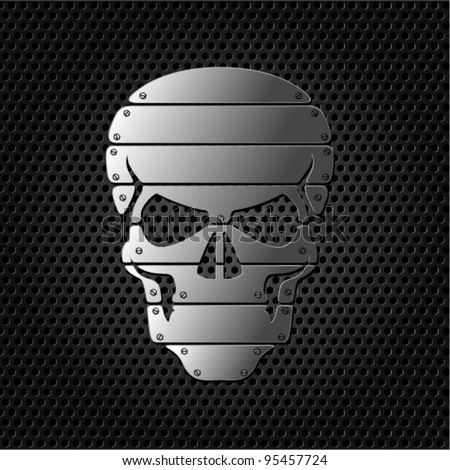 vector Skull on metal background - stock vector