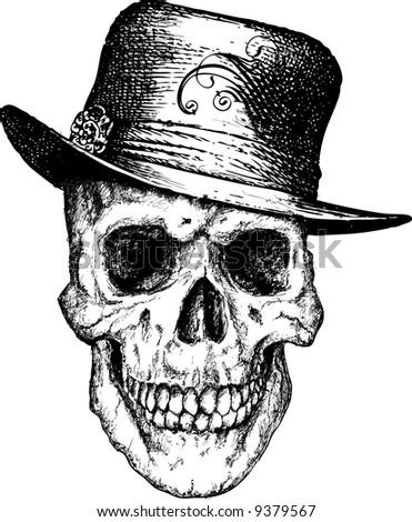 Vector skull pimp illustration - stock vector