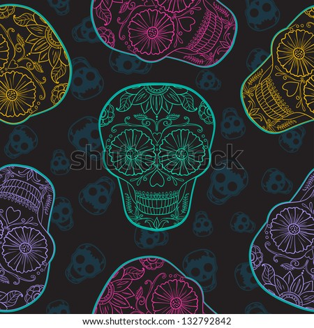 Vector Skull Seamless pattern. Mexican Background for Day of the Dead - stock vector