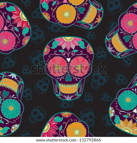 Vector Skull Seamless pattern.  Mexican Background for Day of the Dead. Dia de los Muertos - stock vector