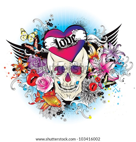 Vector skull tattoo style graphic