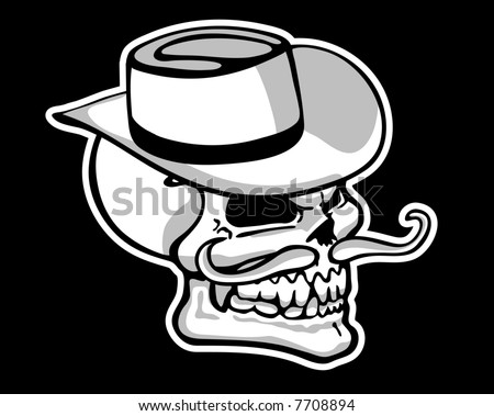 Vector Skull with grey shading - stock vector