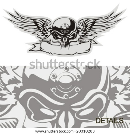 Vector skull with wings at gray basis. More vector skulls see in my portfolio. - stock vector