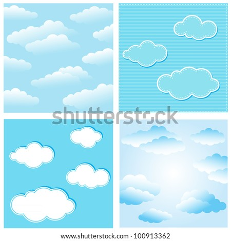 Vector sky with clouds. Illustration with clipping mask.