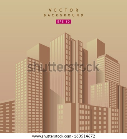 Vector skyscraper orange background - stock vector