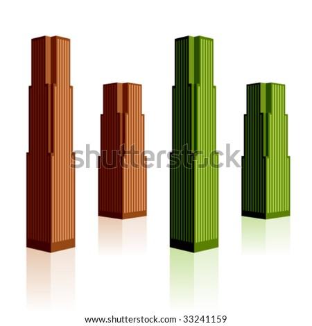 vector skyscraper symbols - stock vector