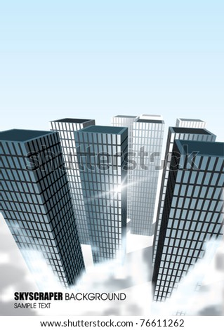 Vector Skyscrapers with Fog - stock vector