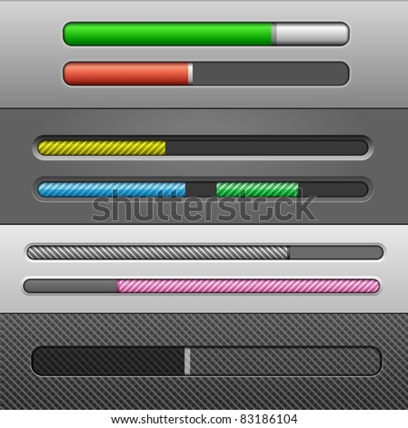 Vector Slider Bars #2 - stock vector