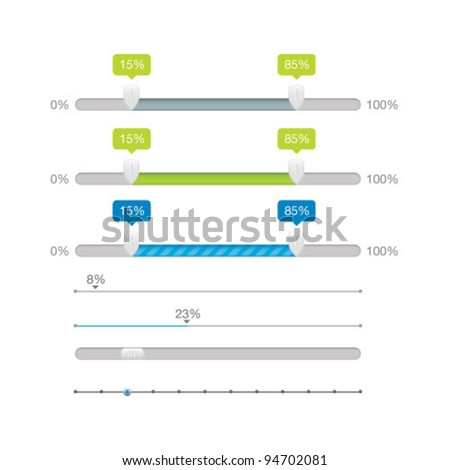 Vector Sliders Scroll bars Set - stock vector