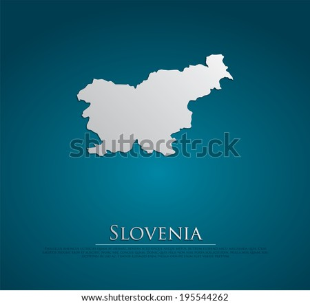 vector Slovenia Map card paper on blue background, high detailed - stock vector