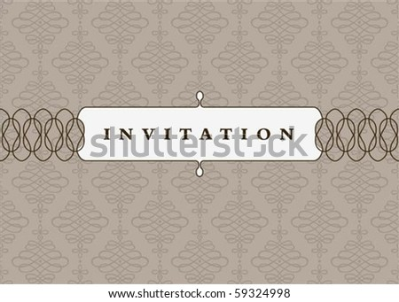 Vector small ornate frame with sample text and pattern. Perfect as invitation or announcement. Pattern is included as seamless swatch. All pieces are separate. Easy to change colors and edit. - stock vector